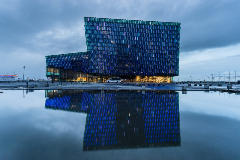 view of the facade of the Harpa concert hall