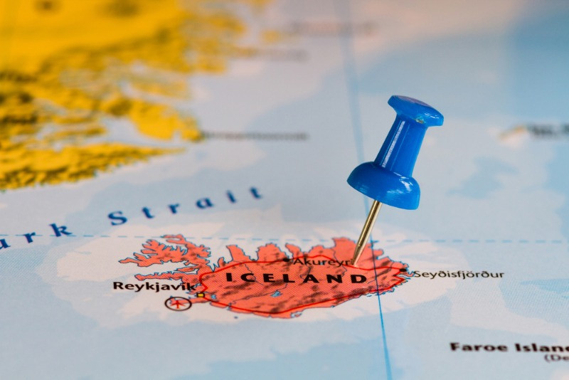 Iceland pinned on a map