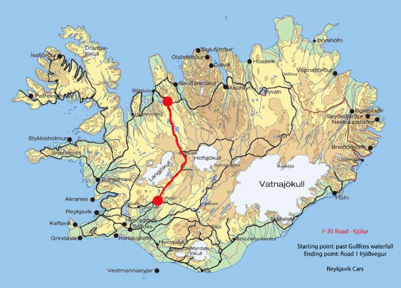 Map detailing the location of the F25 route in Iceland.