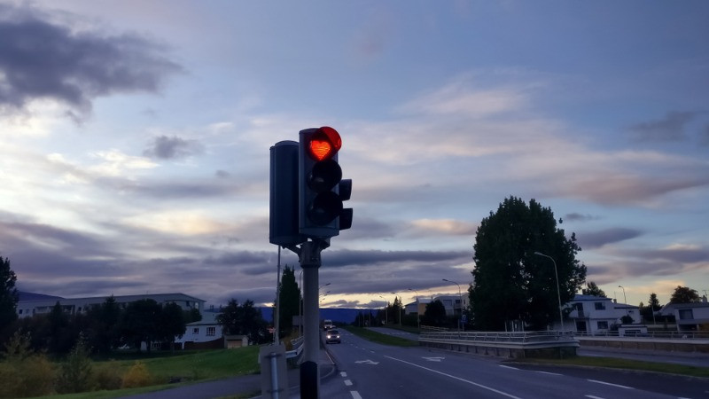 heart shaped traffic lights in Iceland, in Akureyri