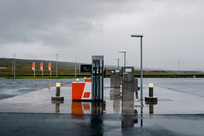 Icelandic N1 gas station on a rainy day -Gas Prices in Iceland