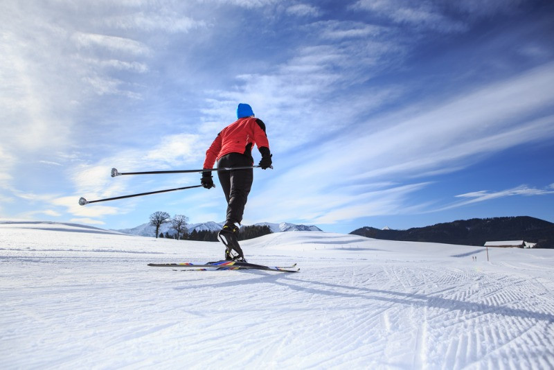 man practising cross-country skiing