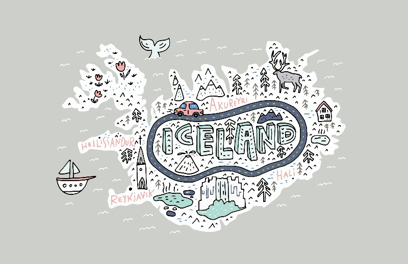 map of iceland with fun spots and cartoon images