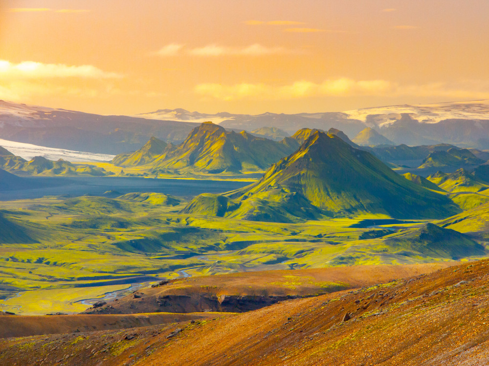 Green mountains of Iceland's highlands