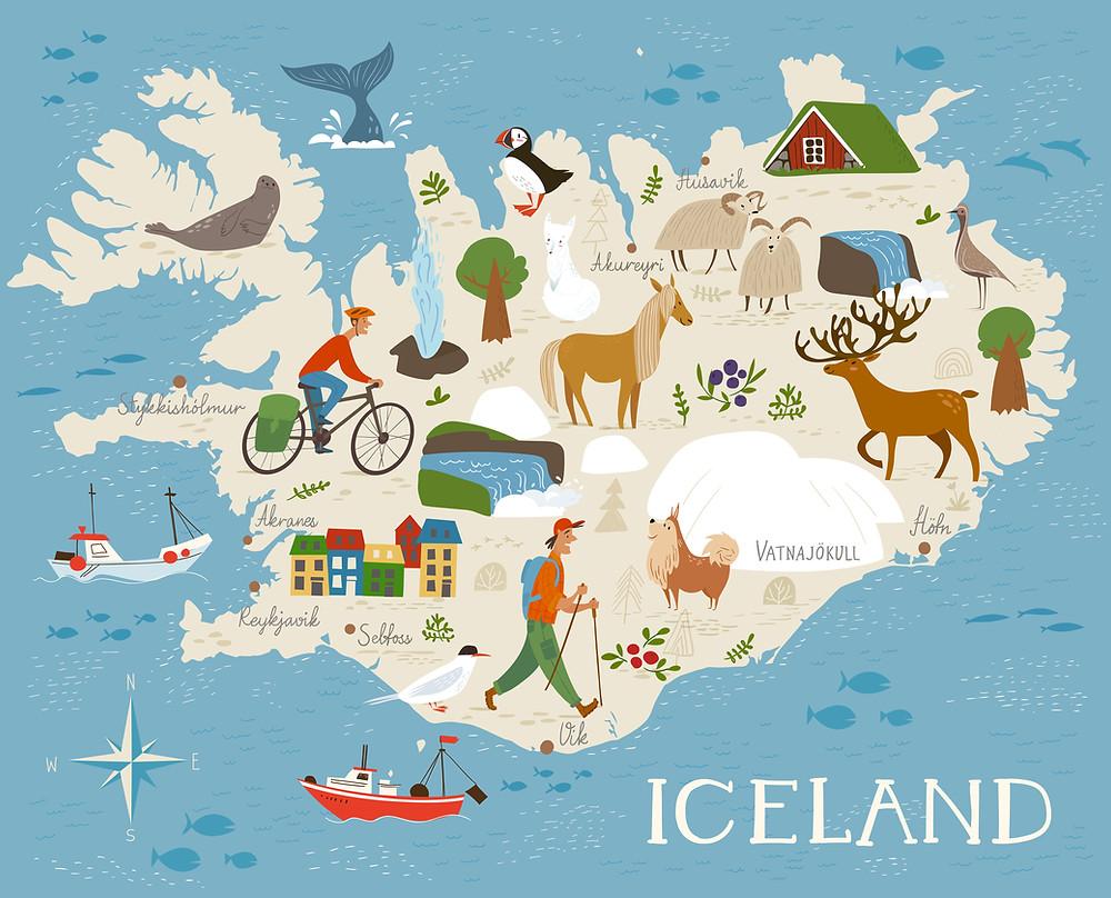 Mappa dell'Islanda con le regioni del paese