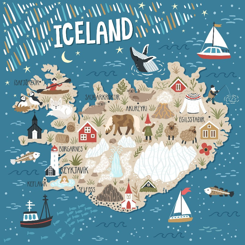 Map of activities and things to do in Iceland