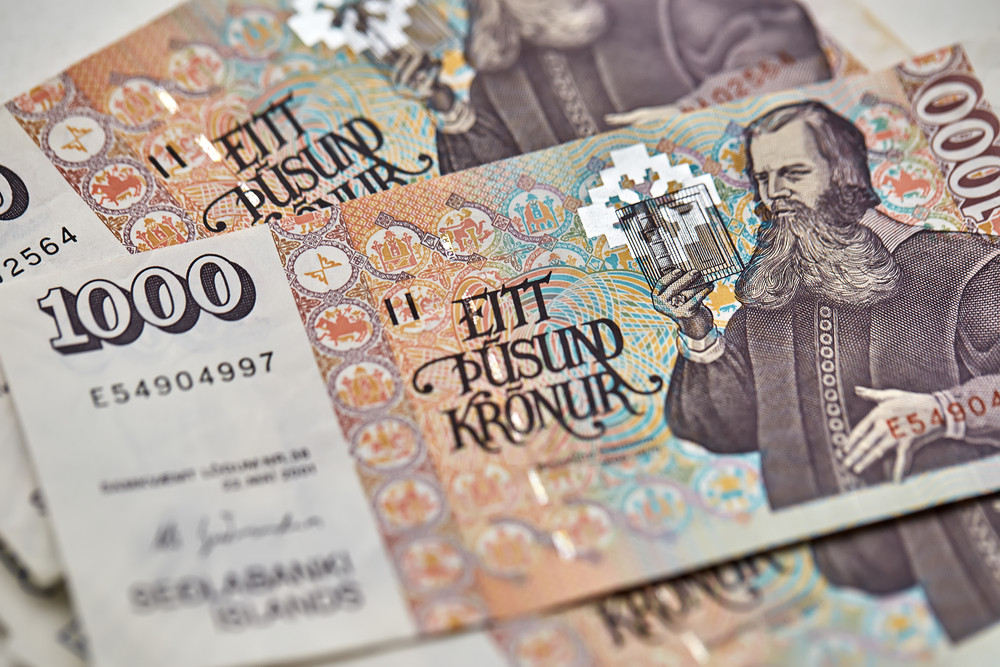 A bill of Icelandic currency, one throusand kronur