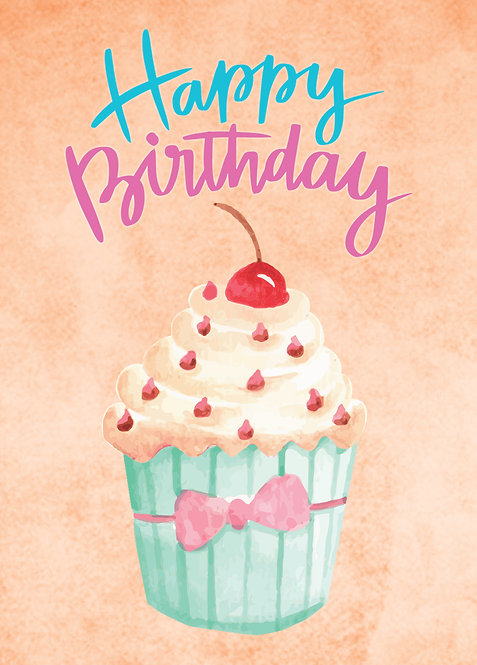 #559 - Happy Birthday Vanilla Cupcake