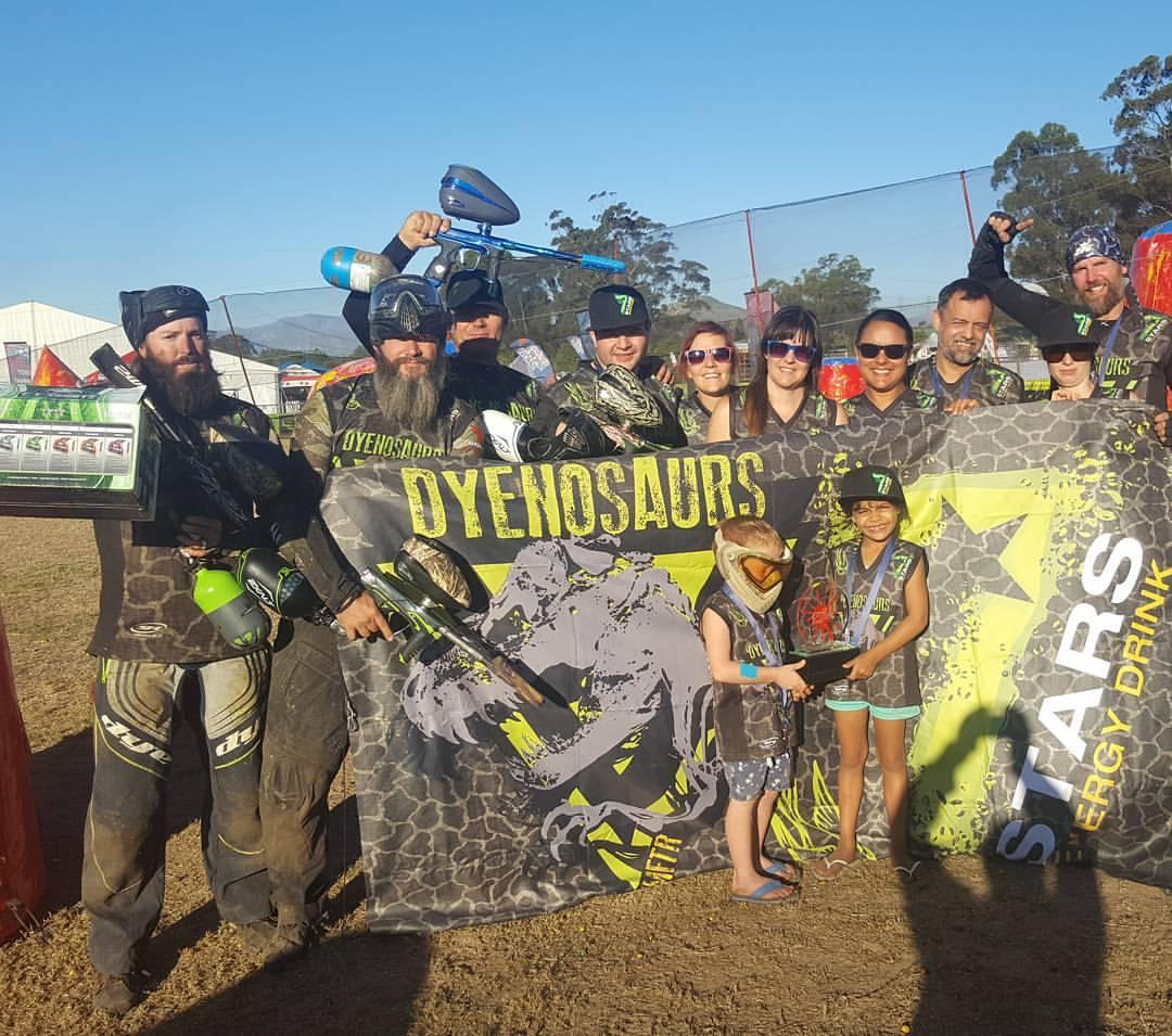 Dyenosaurs Paint Ball Team 7 Seven Stars Energy Drink