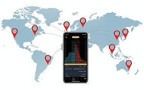 Mobile app for Blockkoin Exchange showing Money Transfers Worldwide
