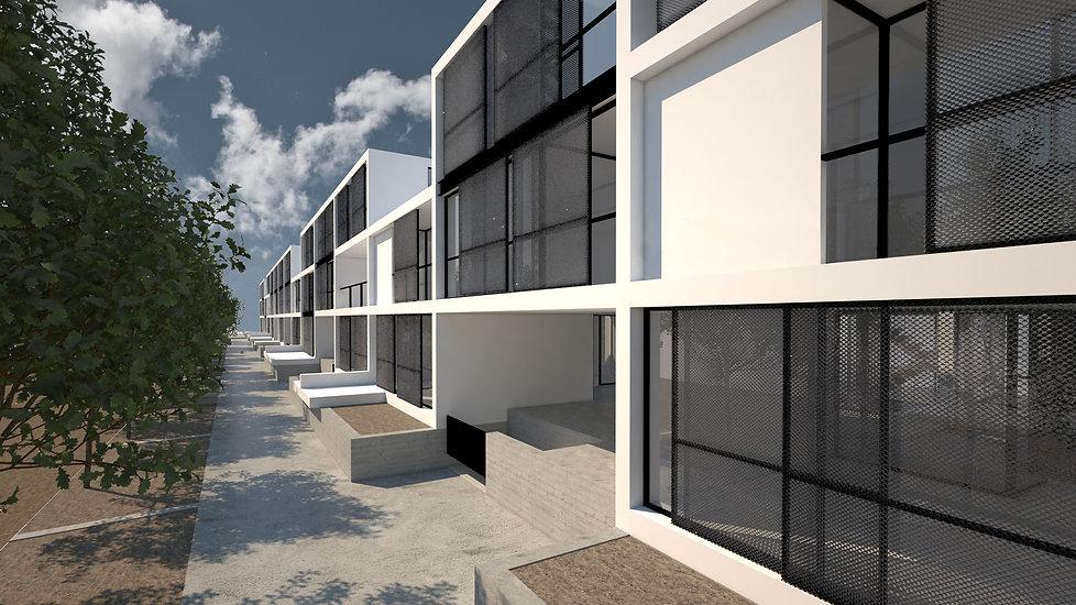 Παντελής Δημόπουλος | Αρχιτεκτονική μελέτη συλλογικής κατοικίας στην Ακαδημία Πλάτωνος, γενική άποψη από πεζόδρομο