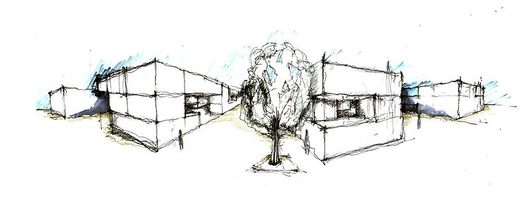 Παντελής Δημόπουλος | Αρχιτεκτονική μελέτη συλλογικής κατοικίας στην Ακαδημία Πλάτωνος, σκίτσο