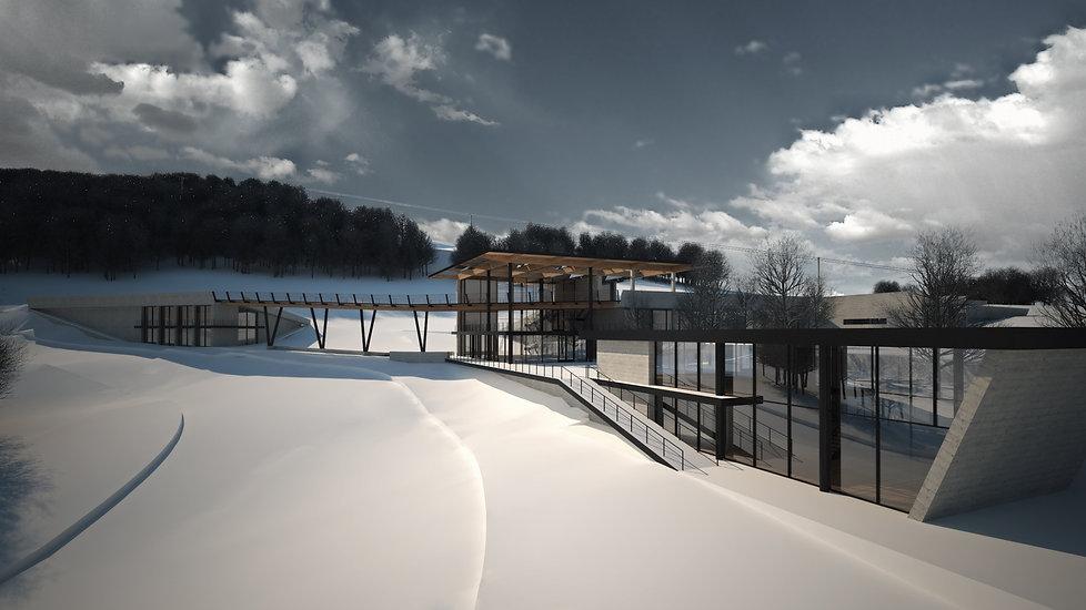 Παντελής Δημόπουλος | Αρχιτεκτονική μελέτη κτηρίου υποδοχής χιονοδρόμων στο Εθνικό Χιονοδρομικό Κέντρο Βασιλίτσας Γρεβενών, φωτορεαλιστικό