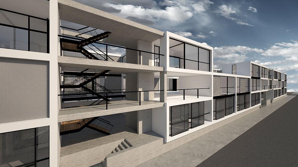 Παντελής Δημόπουλος | Αρχιτεκτονική μελέτη συλλογικής κατοικίας στην Ακαδημία Πλάτωνος, γενική άποψη