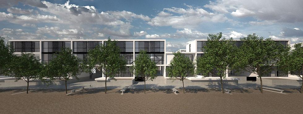Παντελής Δημόπουλος | Αρχιτεκτονική μελέτη συλλογικής κατοικίας στην Ακαδημία Πλάτωνος, όψη