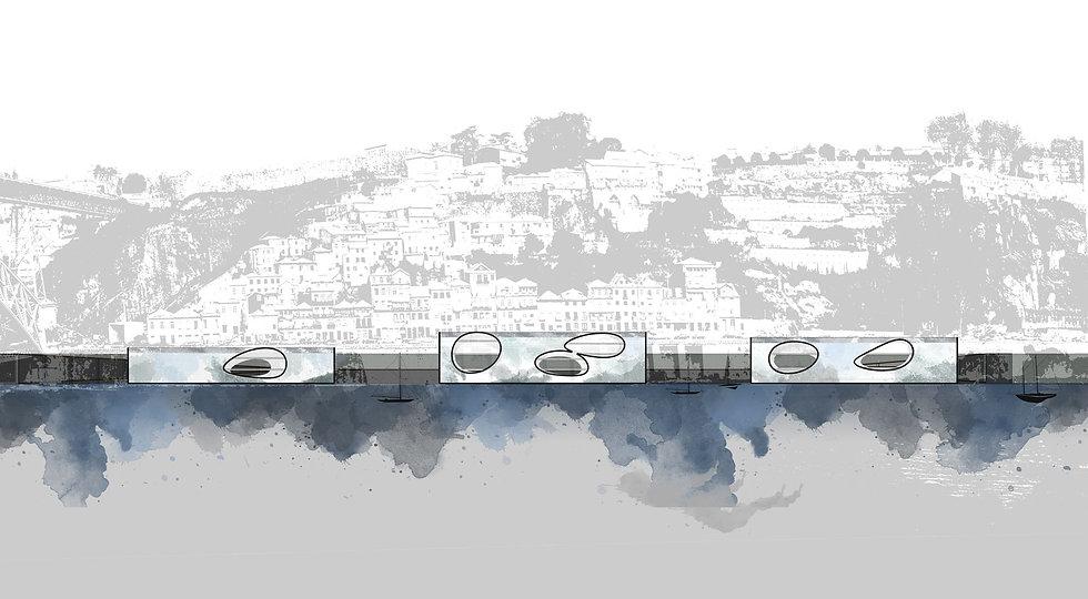 Παντελής Δημόπουλος | Αρχιτεκτονικός διαγωνισμός Αστικές πισίνες στο Πόρτο, τομή