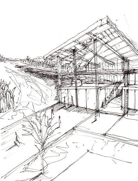 Παντελής Δημόπουλος | Αρχιτεκτονική μελέτη κτηρίου υποδοχής χιονοδρόμων στο Εθνικό Χιονοδρομικό Κέντρο Βασιλίτσας Γρεβενών, σκίτσο