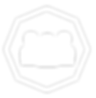 Three team member icons inside an octagon shape