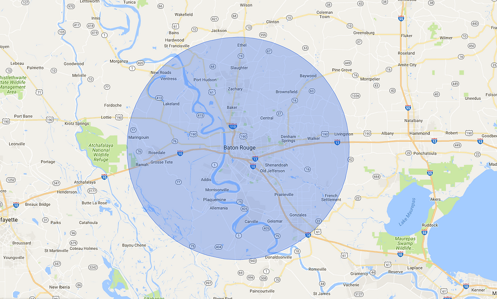 baton rouge and surrounding areas map