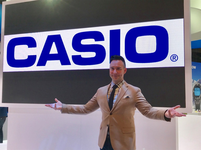 At CES, Las Vegas, the Casio booth. CESのカシオブースにて。