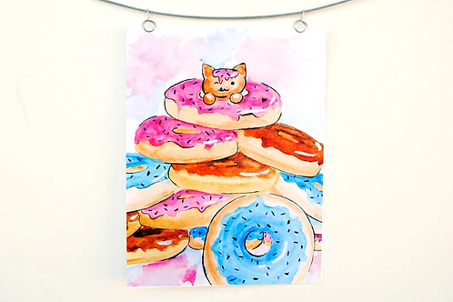 Donut Cat Watercolor Painting Print of a Kitten in a Pile of Doughnuts
