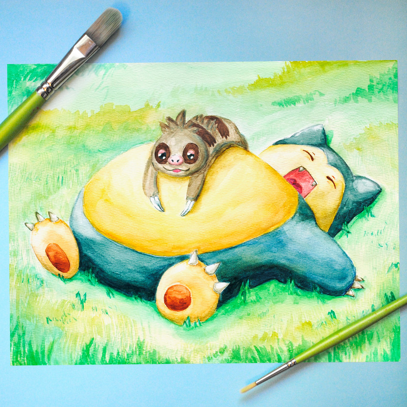 Snorlax and Slakoth Watercolor