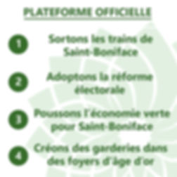 Campaign platform green party st boniface rail relocation, electoral reform, green economy, daycares