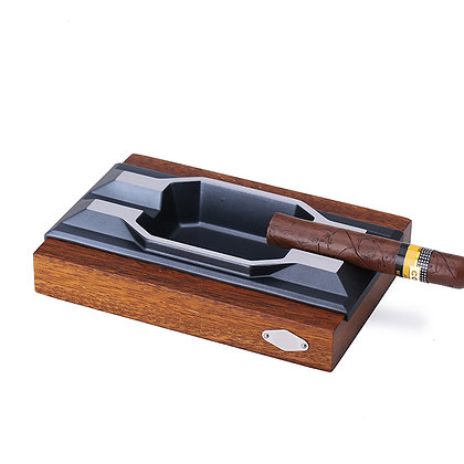 ASHTRAY WOODEN WITH METAL SLOT - 2 Cigars