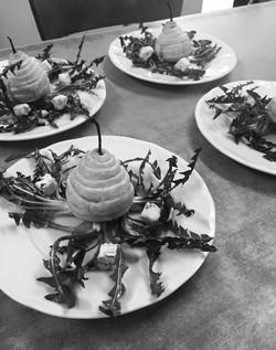 pere, tarassaco e gorgonzola