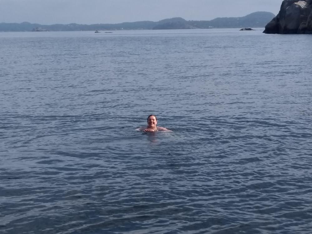 A birthday swim in the fjord