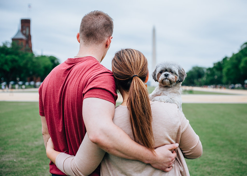 D.C Engagement Portraits with Puppy - D.C Wedding Photography