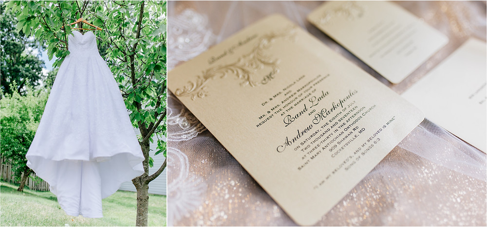 Wedding gown and gold invitations
