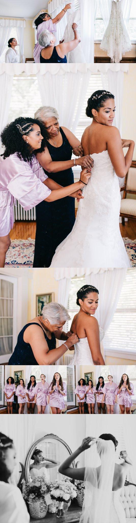 Bride getting ready at Gramercy Mansion Maryland Wedding Photography