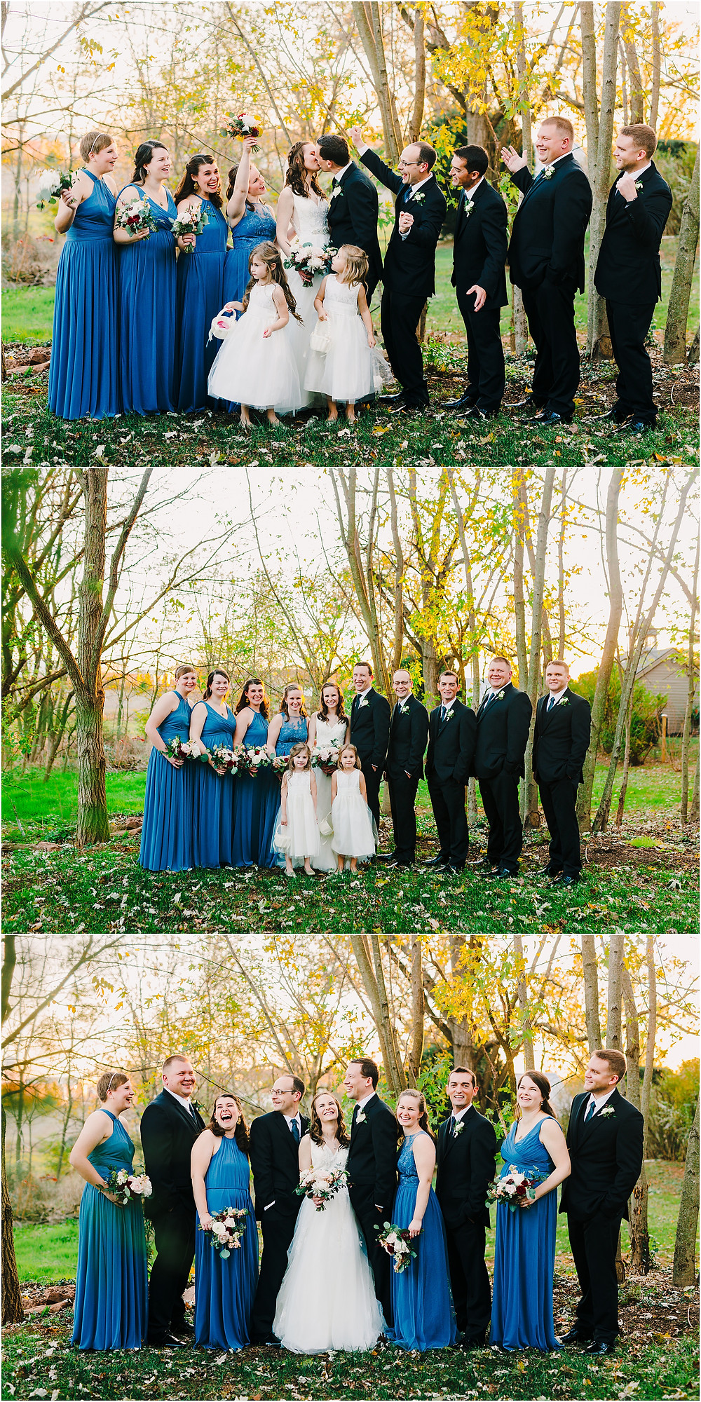 Sunset Wedding Party Portraits at the Tannery Barn Maryland Wedding Photographer