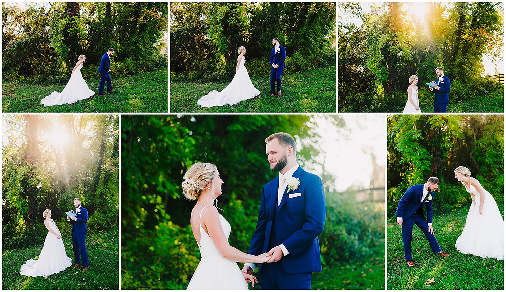 First Look at Bohemia's Overlook Maryland Wedding Photographer
