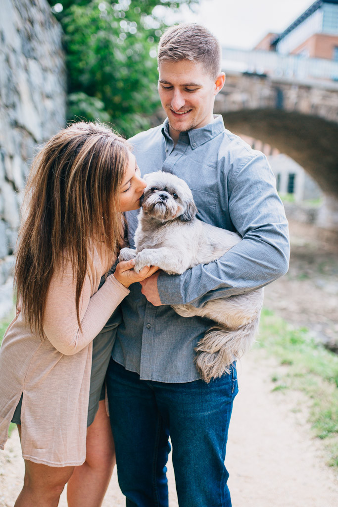 Georgetown Canal Engagement - Puppy - D.C Wedding Photography