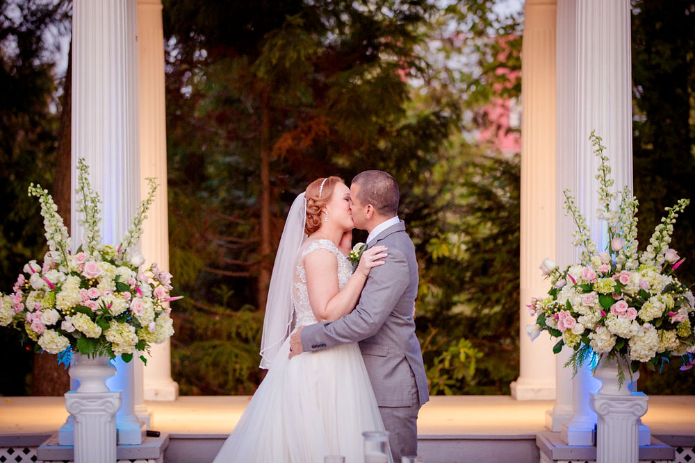 First Kiss Ceresville Mansion Pergola Wedding Ceremony Frederick Maryland