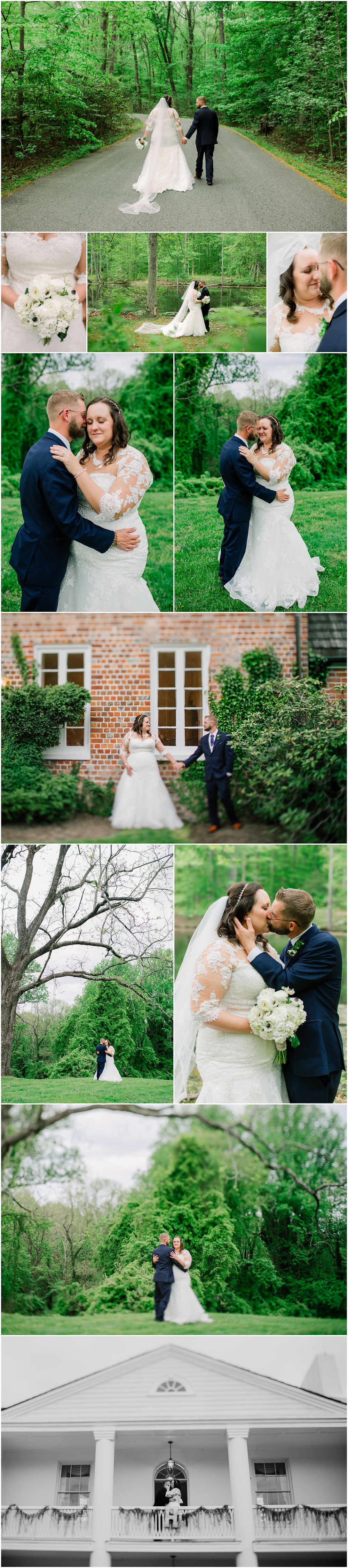 Overcast bride and groom portraits at Mount Airy Mansion