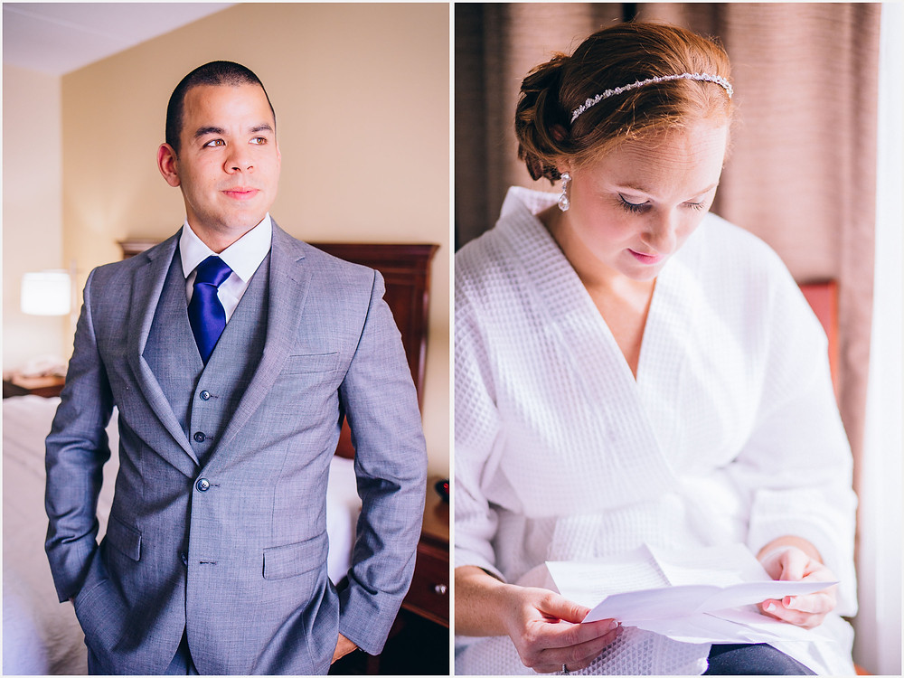 Bride reading letter from groom Frederick Maryland