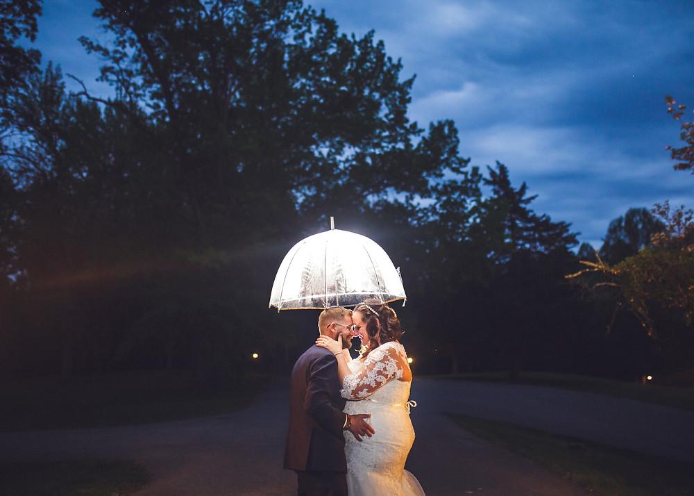 Romantic Rainy Night Portrait - Maryland Wedding Photography