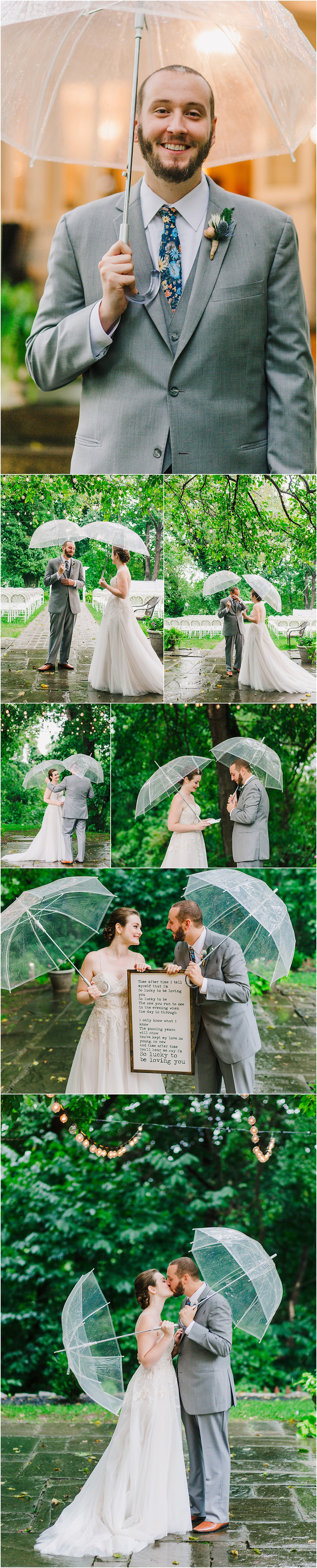 Romantic First Look in the Rain - Baltimore Wedding Photographer