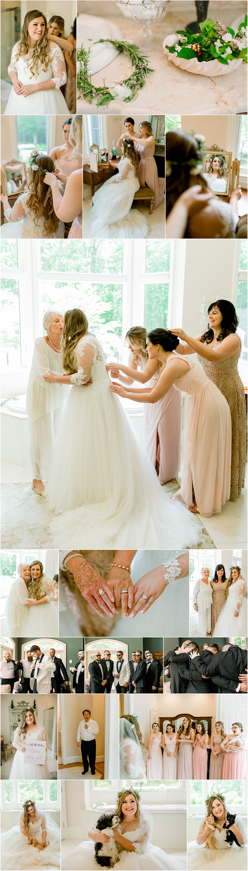 Generational Moments as Bride gets ready. Bridal Kittens and Puppies. First Look with Dad. Flower Crown Bride