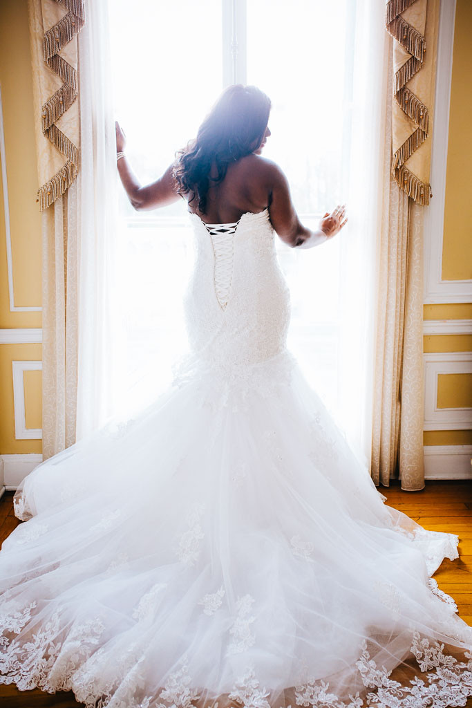 Stunning bride back of gown details - Maryland Bridal Photography