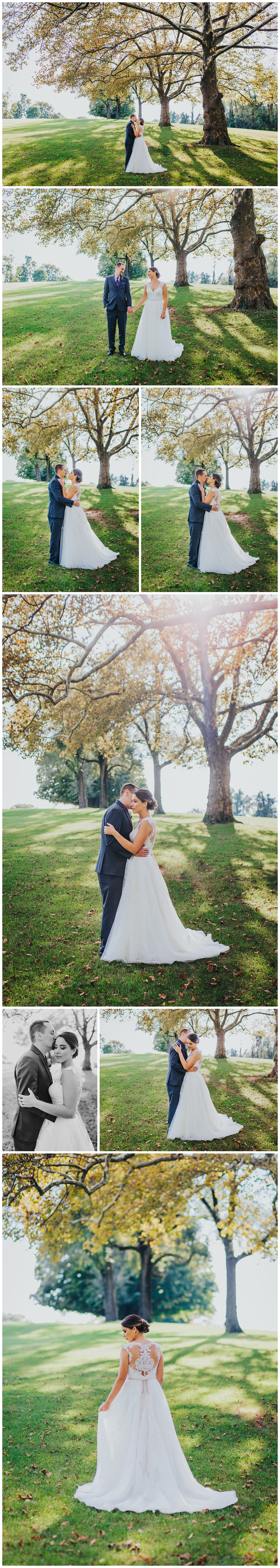 Romantic portraits in the sunshine on the green in Catonsville, MD Rolling Roads Golf Course