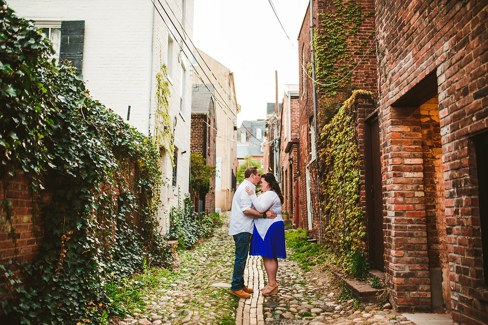 Engagement Portrait in Old Town Alexandria's cobble stone streets - DC Wedding Photographer