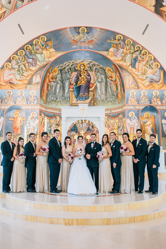 wedding party inside saint mary antiochian church