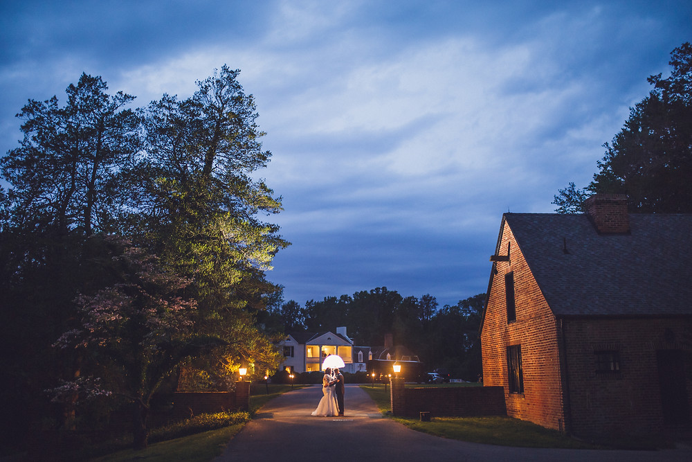 Romantic Wedding Night Portrait at Mount Airy Mansion - Annapolis Wedding Photography