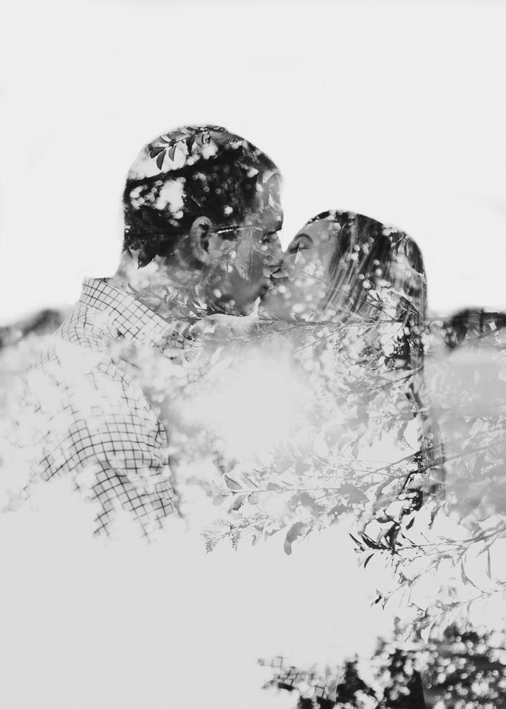 black and white double exposure downtown Annapolis engagement portraits
