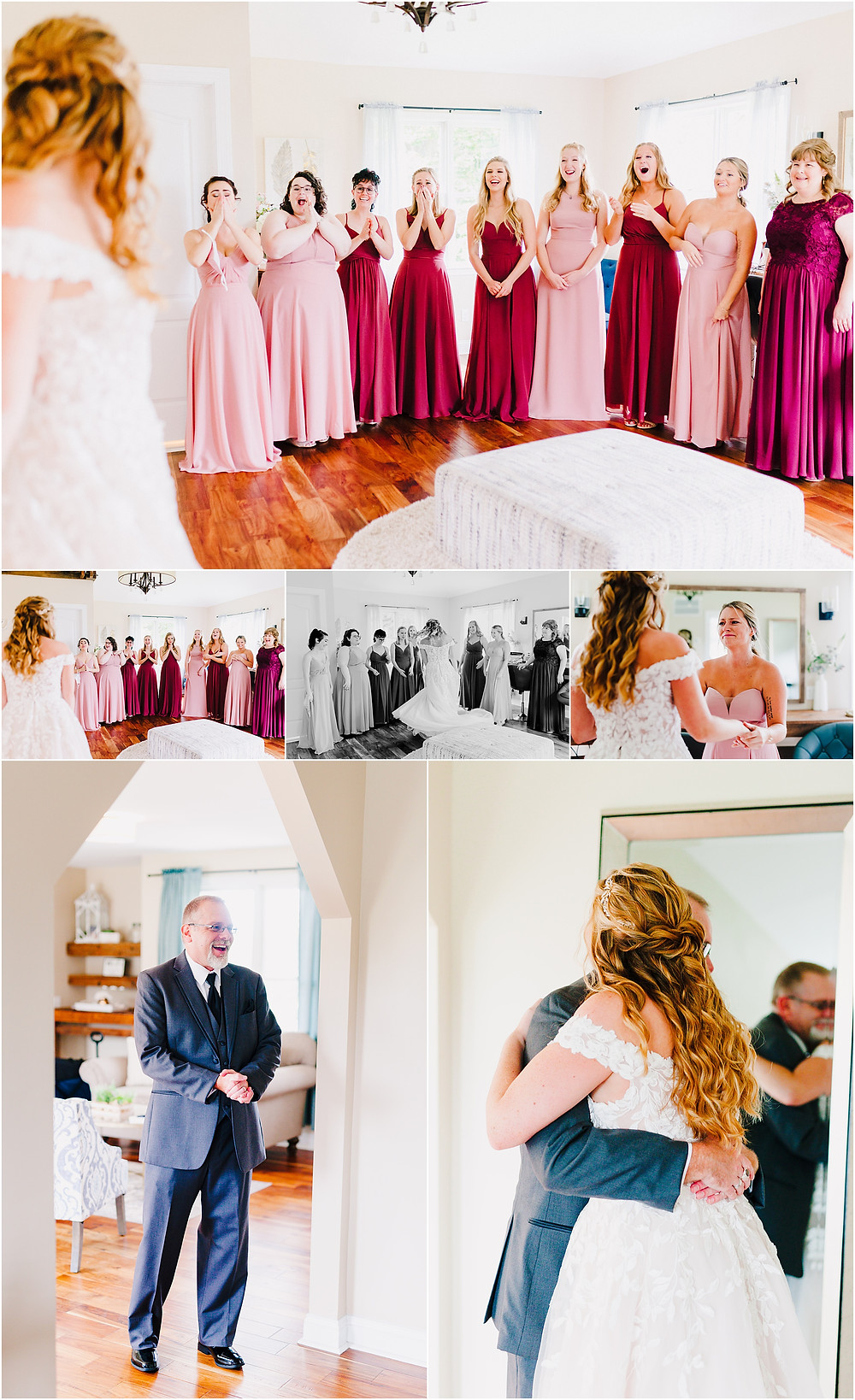 First Look with your bridesmaids at Rosewood Farms. Maryland Wedding Photographer