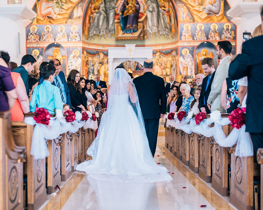 bride down the aisle saint mary antiochian church